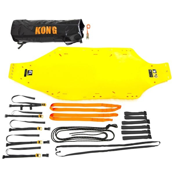 rescue strecher kit with the components laid out