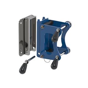 a blue metal bracket